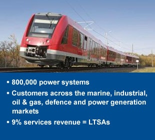 800,000 power systems, Customers across the marine,  industrial, oil & gas, defence and  power generation markets , 5% services revenue = LTSAs